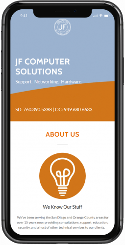 JF Computer Solutions Website On Mobile